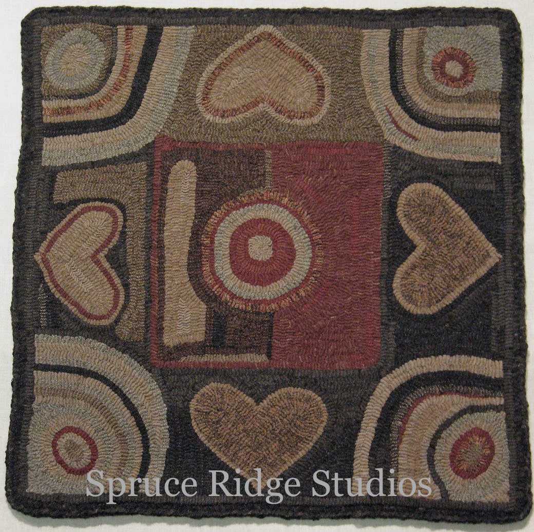 Antique Hearts Rug Hooking Pattern