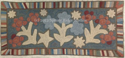 Flowers and Stars Antique Runner Sample