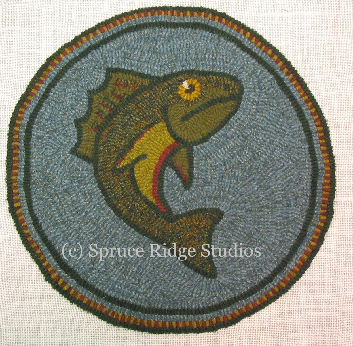 View Pattern Leaping Trout Chair Pad