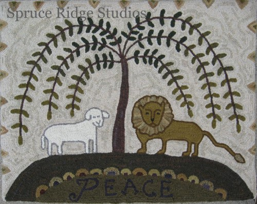 Lion and Lamb hooked rug by Kris Miller