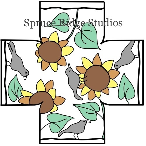 Crows and Sunflowers Foot Stool