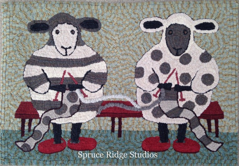Knitting Sheep hooked by Kris Miller