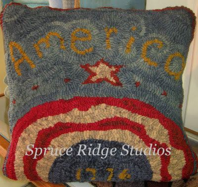 America pillow-Red House Wool Studio